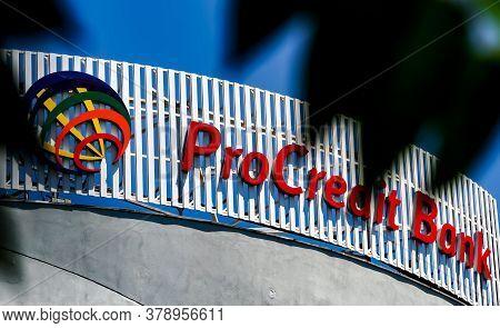 Bucharest, Romania -  June 28, 2020: A Logo Of The Romanian Bank Procredit Bank, Former Miro Bank, I