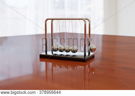 Newton's Cradle Swinging On A Wooden Table With Light Background. Balance Concept. Illustration 3d.