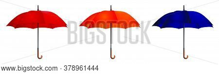 Set Of Bright Umbrellas. Good Autumn Mood. Health Protection In Rainy Weather. Realistic Vector