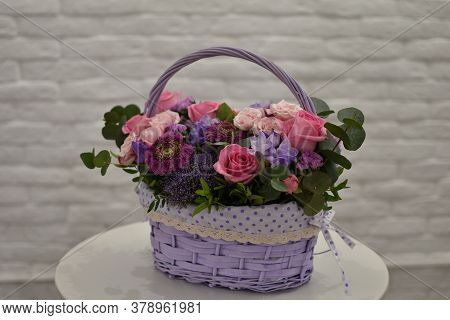 Small Business Flower Shop, Home Delivery Of Fresh Beautiful Flowers. Beautiful Flower Arrangement O