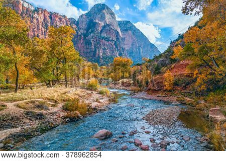 North Fork Virgin River and surrounding mountains in Zion National Park. Utah. USA