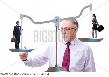 Work inequality concept with man and woman on scales