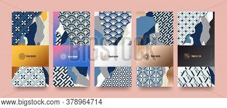 Vector Set Packaging Templates Japanese Of Nature Luxury Or Premium Products.logo Design With Trendy