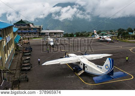 Lukla, Nepal : September-29-2018 : The Aircraft On The Runway Of Tenzing-hillary Airport, The Most D