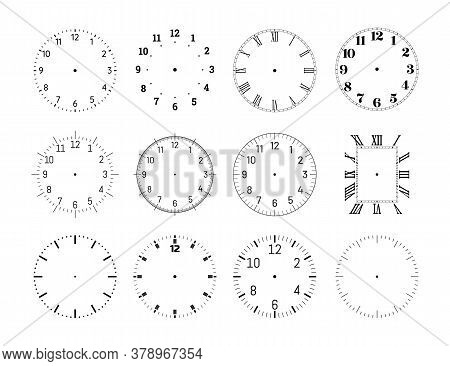 Mechanical Clock Face Dials Template Set. Classic Clocks And Watches With Arabic And Roman Numerals