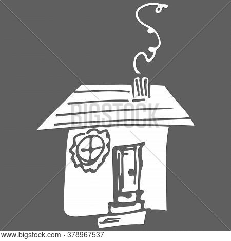 Vector Icon. Doodle Hand Drawn Sign Of Real Estate. Childish Illustration For Print, Web. Vector Ske