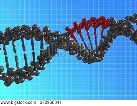 3d Illustration Rendering Of Damage Dna Strings. Dna, Or Deoxyribonucleic Acid, Is The Hereditary Ma