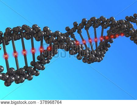 3d Illustration Rendering Of Dna Strings. Dna, Or Deoxyribonucleic Acid, Is The Hereditary Material