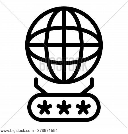 Global Smart Authentication Icon. Outline Global Smart Authentication Vector Icon For Web Design Iso