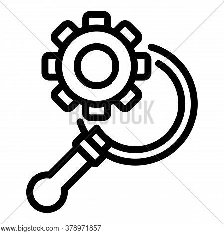 Gear Magnifier Remote Access Icon. Outline Gear Magnifier Remote Access Vector Icon For Web Design I