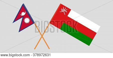 Crossed Flags Of Oman And Nepal. Official Colors. Correct Proportion. Vector Illustration