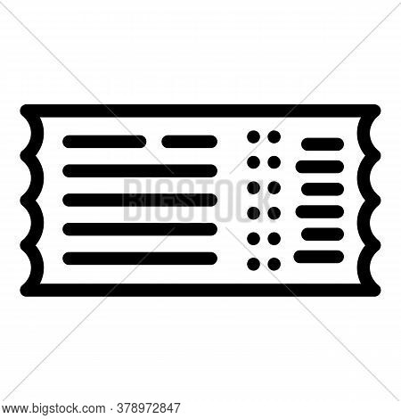 Control Bus Ticket Icon. Outline Control Bus Ticket Vector Icon For Web Design Isolated On White Bac