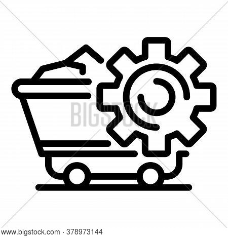 Metallurgy Mine Wagon Icon. Outline Metallurgy Mine Wagon Vector Icon For Web Design Isolated On Whi