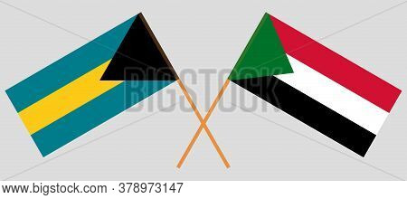 Crossed Flags Of Sudan And Bahamas. Official Colors. Correct Proportion. Vector Illustration
