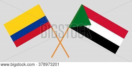 Crossed Flags Of Sudan And Colombia. Official Colors. Correct Proportion. Vector Illustration