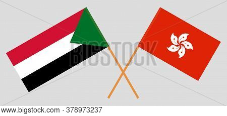 Crossed Flags Of Sudan And Hong Kong. Official Colors. Correct Proportion. Vector Illustration