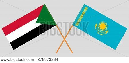 Crossed Flags Of Sudan And Kazakhstan. Official Colors. Correct Proportion. Vector Illustration