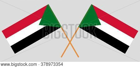 Crossed Flags Of Sudan. Official Colors. Correct Proportion. Vector Illustration