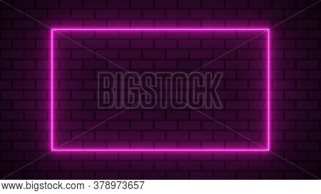 Empty Frame With Electric Power Round Border Glowing, Pink Color Neon Lightning Sign On Brick Wall B
