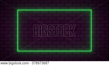 Empty Frame With Electric Power Round Border Glowing, green Color Neon Lightning Sign On Brick Wall