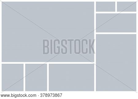 Photo Collage Template. Vector. Mood Board. Picture Grid. Moodboard Background. Mosaic Frame Banner.