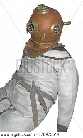 Old Diving Helmet And A Diving Suit On White  Background