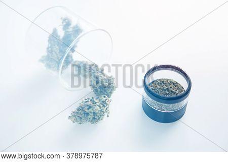 Cbd Thc Herb. Cannabis Buds In Grinder. Marijuana Nature Bud. The Sugar Pot Leaves On Buds.