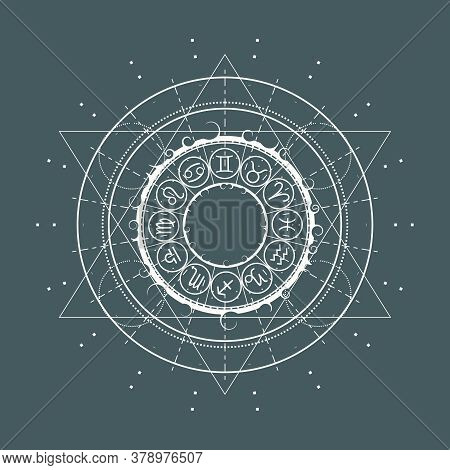 Mystical Geometry Symbol. Linear Alchemy, Occult, Philosophical Sign. Astrology And Religion Concept