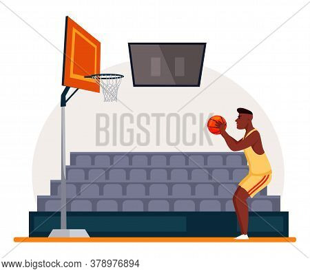 Afro-american Basketball Player Ready To Throw Ball Into Basket With Net. Sportsman Character In Spo