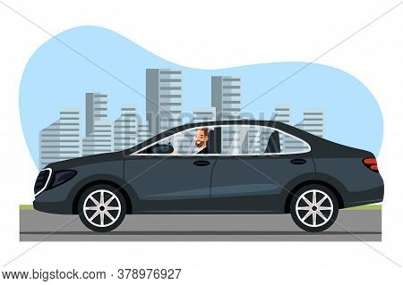 Happy Smiling Businessman Character Driving Luxury Expensive Black Car On Meeting. Office Worker Ret
