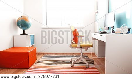 Colourful Children Rooom With White Walls And Furniture