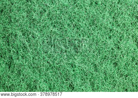 Rough Side Of Green Sponges For Washing Dishes And Other Items, Close-up Of Kitchen Sponges