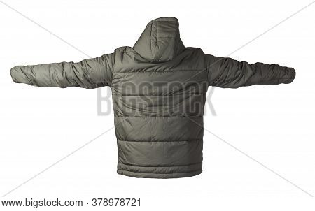 Mens Dark Green Jacket In A Hood Isolated On A White Background. Windbreaker Jacket . Casual Style
