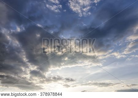 Beautiful Cloudy Sky During Sunset Or Dawn, Natural Phenomena, The Sun At Sunset Or Dawn Changes Col