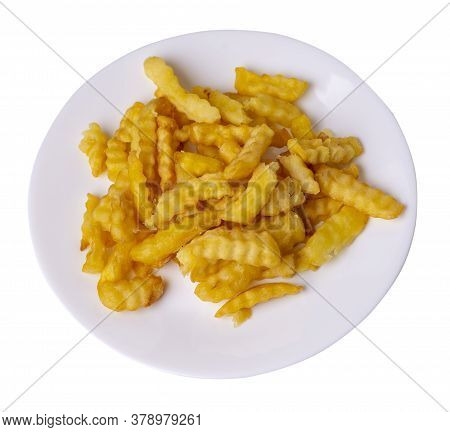 French Fries On A Plate Isolated On White Background.french Fries On White Plate Top View .junk Food