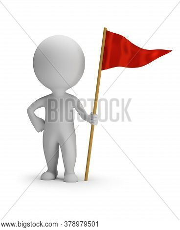 3d Small Person With A Red Flag. 3d Image. White Background.