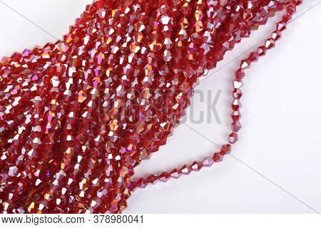 Beautiful Red Scarlet, Ruby Glass Sparkle Crystal Isoalted Beads On White Background. Use For Diy Be
