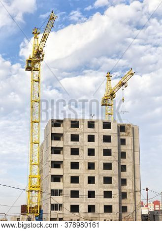 Construction Cranes With The Help Of Which It Is Possible To Build And Erect Buildings From A Large
