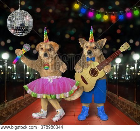 Two Dog Unicorns Musicians Are Singing A Song Near A Disco Ball On Stage In A Nightclub.
