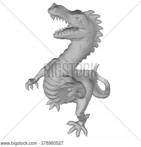 Polygonal Angry Dinosaur. Dinosaur Isolated On White Background. 3d. Vector Illustration