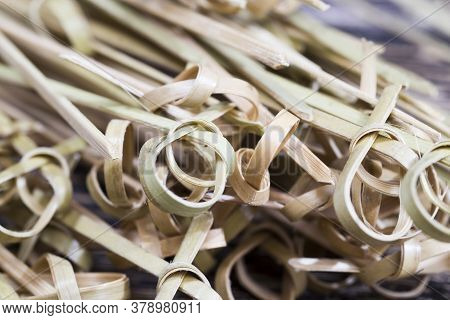 Bamboo Sticks For Attaching Together Different Types Of Food, Rolls, Sandwiches, Sticks Are Made Rou