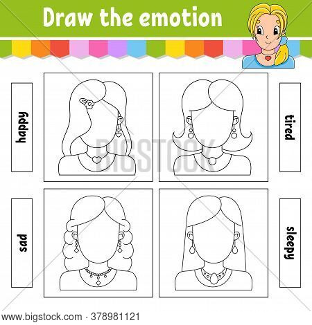 Draw The Emotion. Worksheet Complete The Face. Coloring Book For Kids. Cheerful Character. Vector Il
