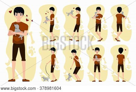 Flat Vector Young Man Character Constructor With Dog Pats