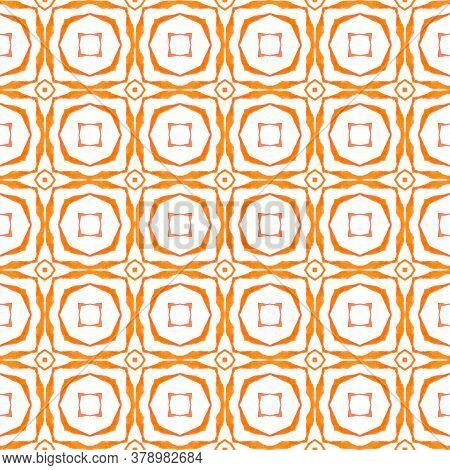 Green Geometric Chevron Watercolor Border. Orange Shapely Boho Chic Summer Design. Textile Ready Sig