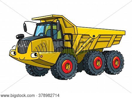 Articulated Dump Truck Car With Eyes Illustration
