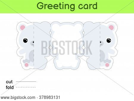 Cute Polar Bear Fold-a-long Greeting Card Template. Great For Birthdays, Baby Showers, Themed Partie