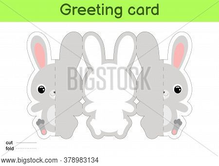 Cute Hare Fold-a-long Greeting Card Template. Great For Birthdays, Baby Showers, Themed Parties. Pri