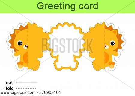 Cute Lion Fold-a-long Greeting Card Template. Great For Birthdays, Baby Showers, Themed Parties. Pri