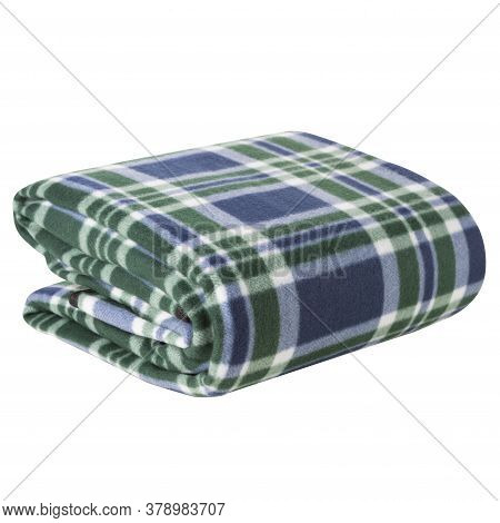 Folded Blanket For A Picnic Or For A Hike, On A White Background, Isolate
