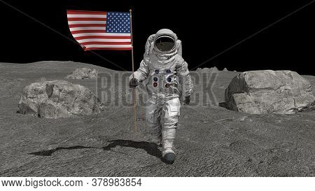 Astronaut Walking On The Moon With American Flag. Cg Animation. Some Elements Of This Video Furnishe